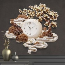 Đồng hồ trang trí điêu khắc phù điêu  DHS484
