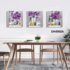 Tranh đồng hồ, tranh treo tường 3 bức nghệ thuật DH4960A
