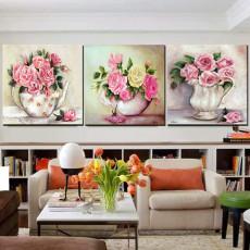 Tranh treo tường 3 bức tranh bình hoa DH3008A