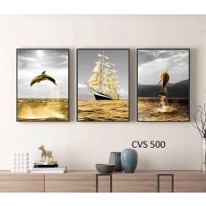 Tranh Scandinavian treo tường nghệ thuật Cá Heo CVS500