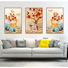 Tranh gương 3 bức tranh nghệ thuật MC176