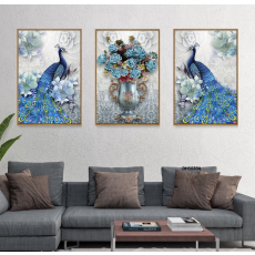 Tranh đồng hồ, tranh treo tường nghệ thuật Chim Công DH5020A