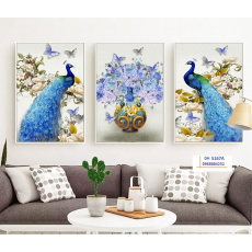 Tranh đồng hồ, tranh treo tường nghệ thuật Chim Công DH5167A