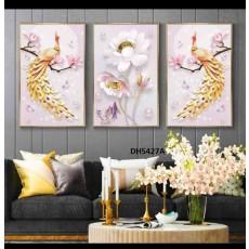 Tranh đồng hồ, tranh treo tường nghệ thuật Chim Công DH5427A