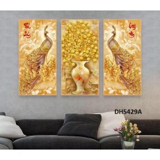 Tranh đồng hồ, tranh treo tường nghệ thuật Chim Công DH5429A