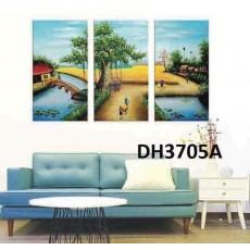 Tranh đồng hồ, tranh treo tường nghệ thuật làng quê DH3705A