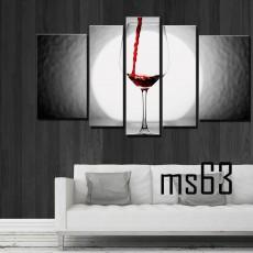 Tranh ghép bộ 5 bức ly rượu MS63