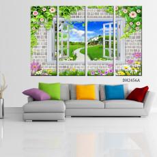 Tranh bộ 4 bức phong cảnh cửa sổ DH2456A (kích thước 120x80cm)