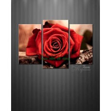 Tranh đồng hồ bộ hoa Hồng đỏ DH788A (kích thước 80x55cm)