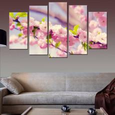 Tranh bộ 5 bức hoa đào HD01 (kích thước 150x90cm)