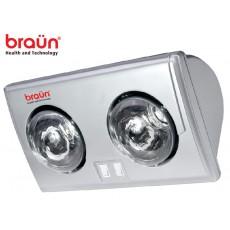 Đèn sưởi nhà tắm 2 bóng bạc Braun BU02