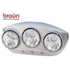 Đèn sưởi nhà tắm 3 bóng trắng Braun BU03