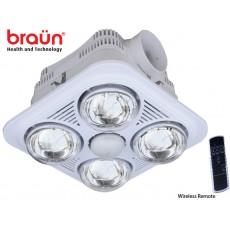 Đèn sưởi nhà tắm Braun 4 bóng trắng gắn trần có điều khiển