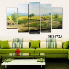 Tranh ghép bộ phong cảnh 5 bức làng quê DH2742A