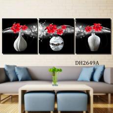 Tranh treo tường 3 bức nghệ thuật bình hoa DH2649A
