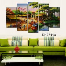 Tranh ghép bộ phong cảnh 5 bức làng quê DH2744A