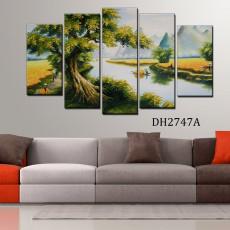 Tranh ghép bộ phong cảnh 5 bức làng quê DH2747A