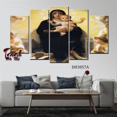 Tranh ghép bộ 5 bức nghệ thuật Đức Mẹ DH3057A