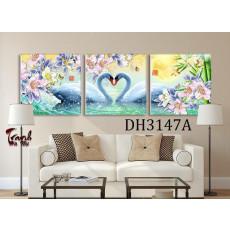 Tranh treo tường 3 bức nghệ thuật Thiên Nga DH3147A