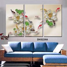 Tranh treo tường 3 tấm nghệ thuật cửu ngư DH3224A