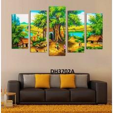 Tranh ghép bộ nghệ thuât 5 bức phong cảnh làng quê DH3702A