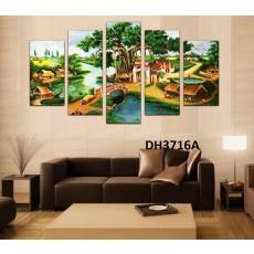Tranh ghép bộ nghệ thuât 5 bức phong cảnh làng quê DH3716A
