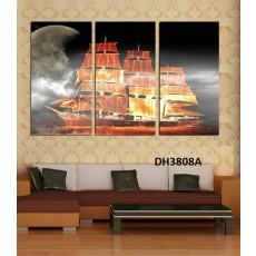 Tranh treo tường 3 bức tranh thuận buồm xuôi gió DH3808A