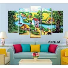 Tranh ghép bộ nghệ thuât 5 bức phong cảnh làng quê DH3913A