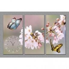 Tranh đồng hồ bộ 3 tấm bướm DH49A