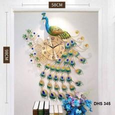 Đồng hồ trang trí chim công xanh DHS345