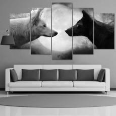 Tranh nghệ thuật 5 bức Chó Sói BT057