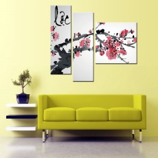 Tranh bộ 3 bức Hòa Đào DH2097 (kích thước 120x100cm)