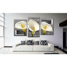 Bộ tranh sơn dầu hoa Calla SD195 (kích thước 130x60cm)