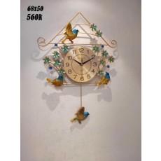 Đồng hồ trang trí chim sẻ M8006V Vàng