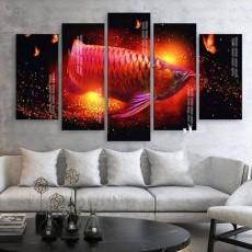 Tranh gương 5 bức tranh Cá Rồng MC115