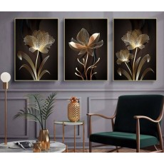 Tranh gương 3 bức tranh hoa nghệ thuật MC125