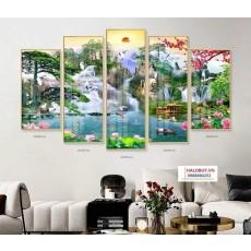 Tranh gương 5 bức phong cảnh sơn thủy hữu tình MC136