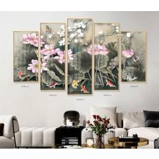 Tranh gương 5 bức hoa sen MC137