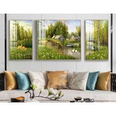 Tranh gương 3 bức nghệ thuật MC147