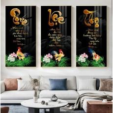 Tranh gương 3 bức tranh nghệ thuật Phúc Lộc Thọ MC209