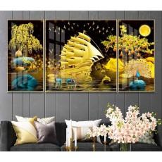 Tranh đồng hồ, tranh treo tường nghệ thuật thuận buồm xuôi gió NT293
