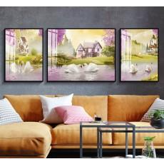 Tranh gương 3 bức nghệ thuật MC245