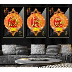 Tranh gương 3 bức tranh nghệ thuật Phúc Lộc Thọ MC249