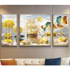 Tranh đồng hồ, tranh treo tường nghệ thuật thuận buồm xuôi gió NT286