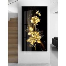 Tranh tráng gương 1 bức nghệ thuật hoa hồng vàng MC61