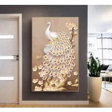 Tranh tráng gương 1 bức nghệ thuật chim công phú quí MC69