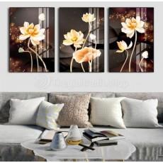 Tranh gương 3 bức hoa sen MC83