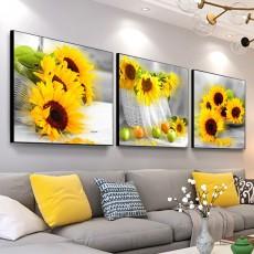 Tranh đồng hồ, tranh treo tường 3 bức hoa hướng dương NT105