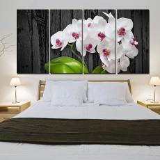 Tranh đồng hồ, tranh treo tường 4 bức Hoa lan trắng NT108