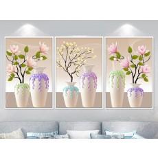 Tranh đồng hồ, tranh treo tường 3 bức hoa nghệ thuật  NT109